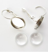Earring 12mm Leverback With Bezel Tray